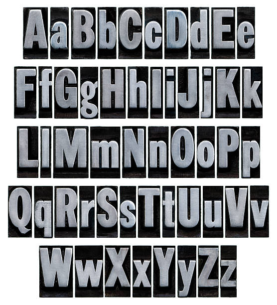 alphabet - old metal letterpress type - ruth 個照片及圖片檔