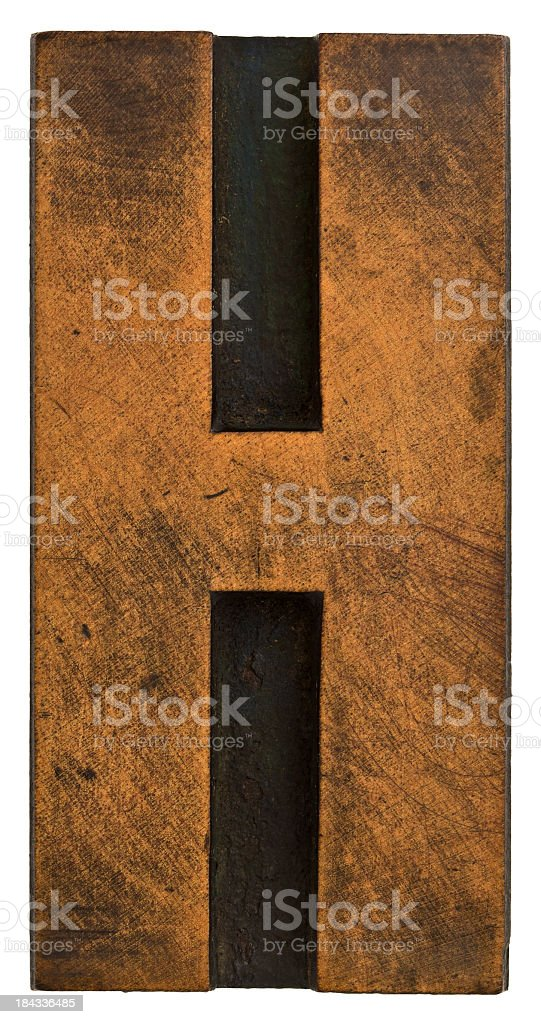 Alphabet - Old Wood Typesetting Letter H. royalty-free stock photo