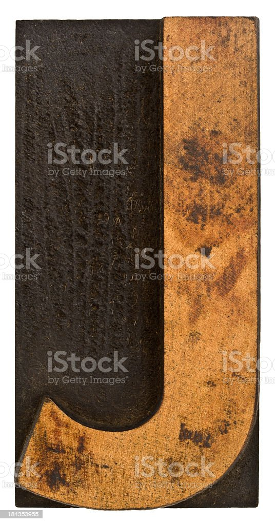 Alphabet - Old Wood Typesetting Letter J. stock photo