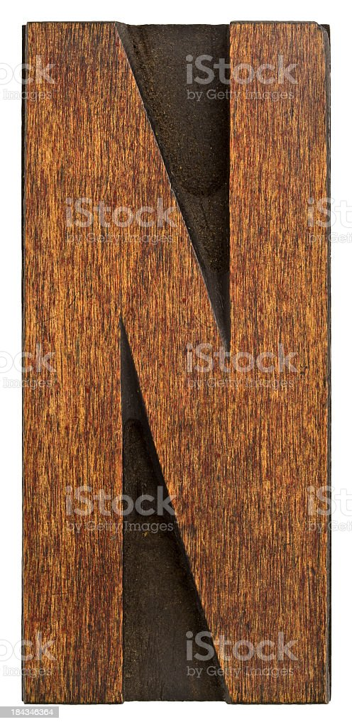 Alphabet - Old Wood Typesetting letter N. royalty-free stock photo
