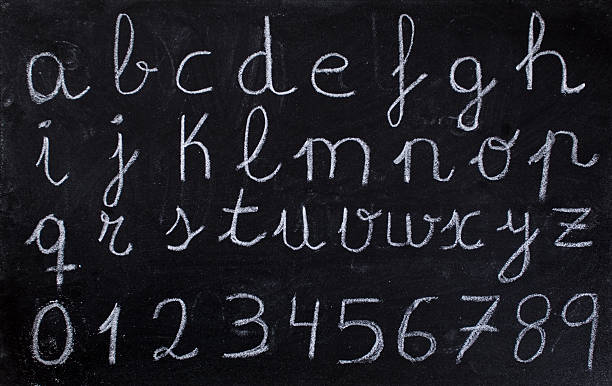 alphabet on blackboard - alphabetical order stock pictures, royalty-free photos & images