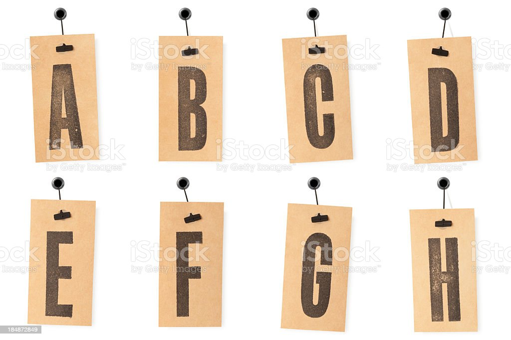 Alphabet on price tags A to H royalty-free stock photo
