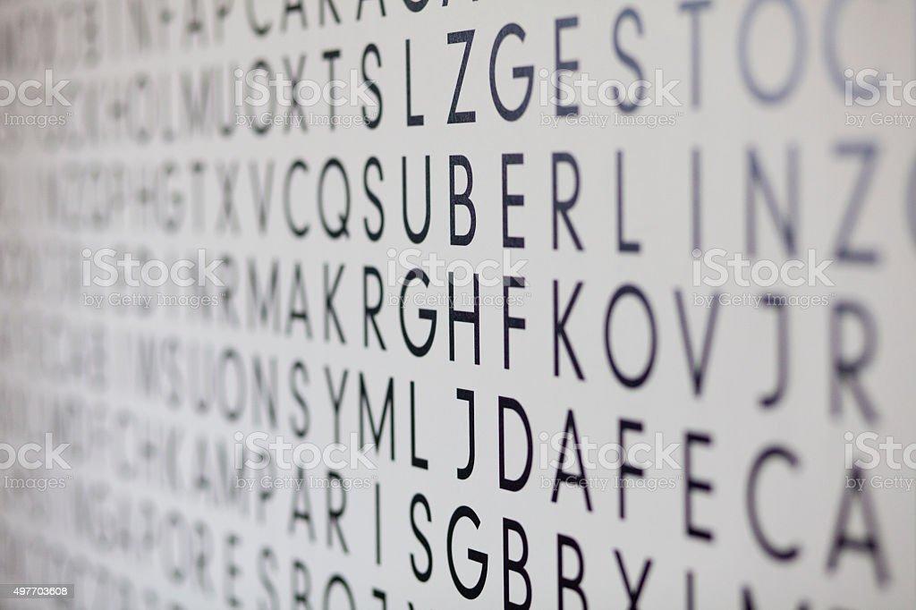 alphabet on the wallpaper XXXL stock photo