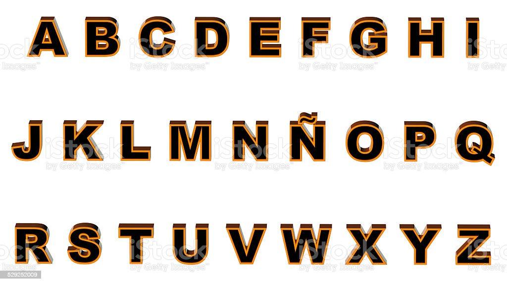 Alphabet orange and black stock photo