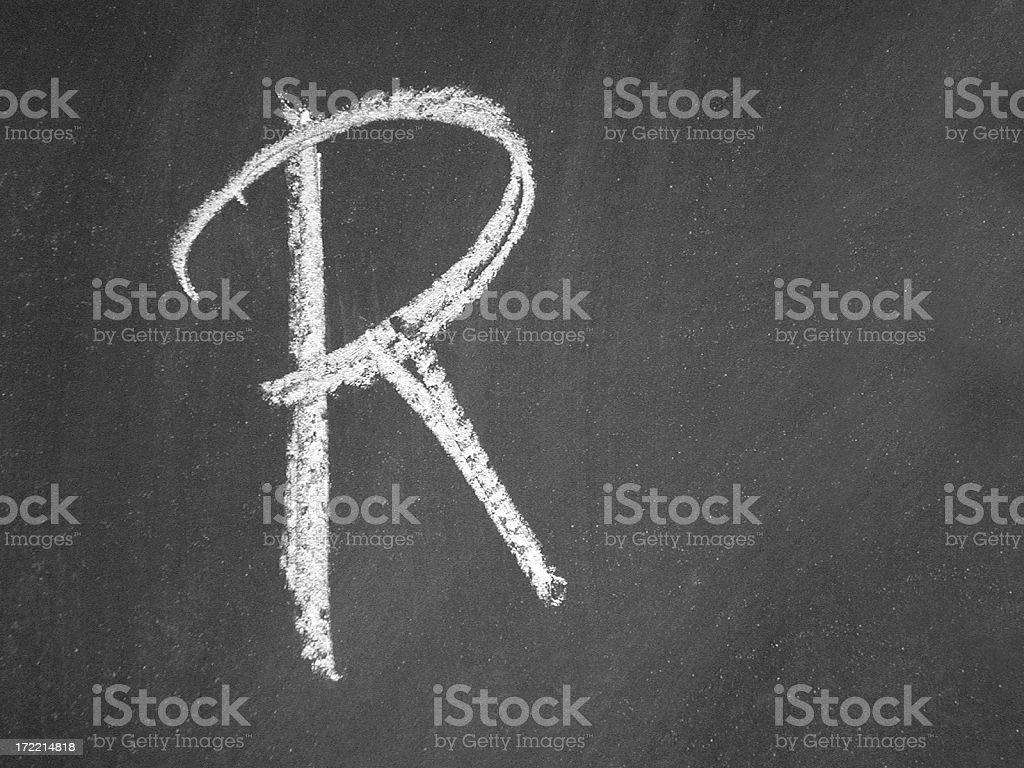 alphabet - R- Chalk royalty-free stock photo