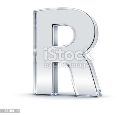 3D rendering of letter R made of transparent glass with Shades and Shadow isolated on white background.