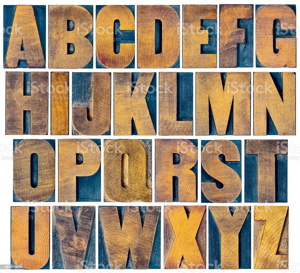 alphabet set in vintage letterpress wood type stock photo