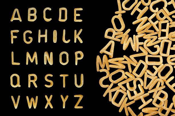 Buchstabennudelsuppen pasta Schriftart – Foto