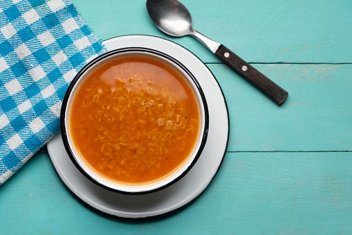 Alphabet soup pasta on turquoise background