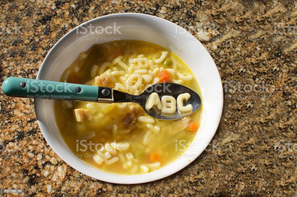 alphabet soup with abc letters spelled out on spoon – Foto