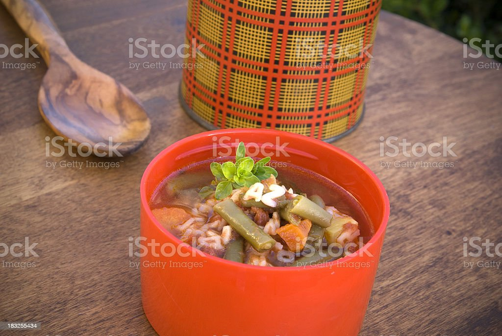 Alphabet Vegetable & Noodle Soup, School Lunch in Vintage Checkered Thermos stock photo