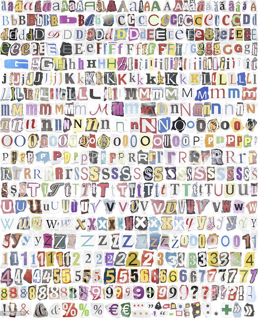 alphabet with 516 letters, numbers, symbols stock photo