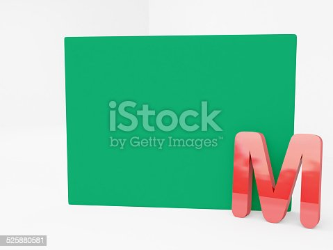 red M alphabet with blank green canvas