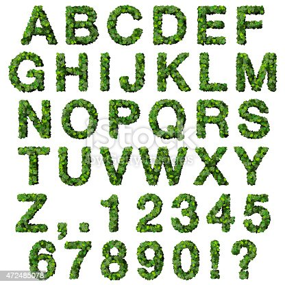 istock Alphabet with numbers made from green leaves 472485078