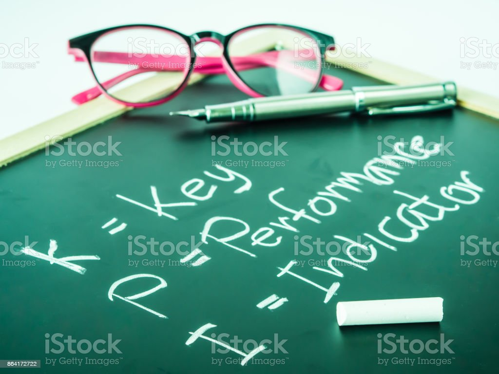 KPI alphabet with the meaning on white table background. royalty-free stock photo