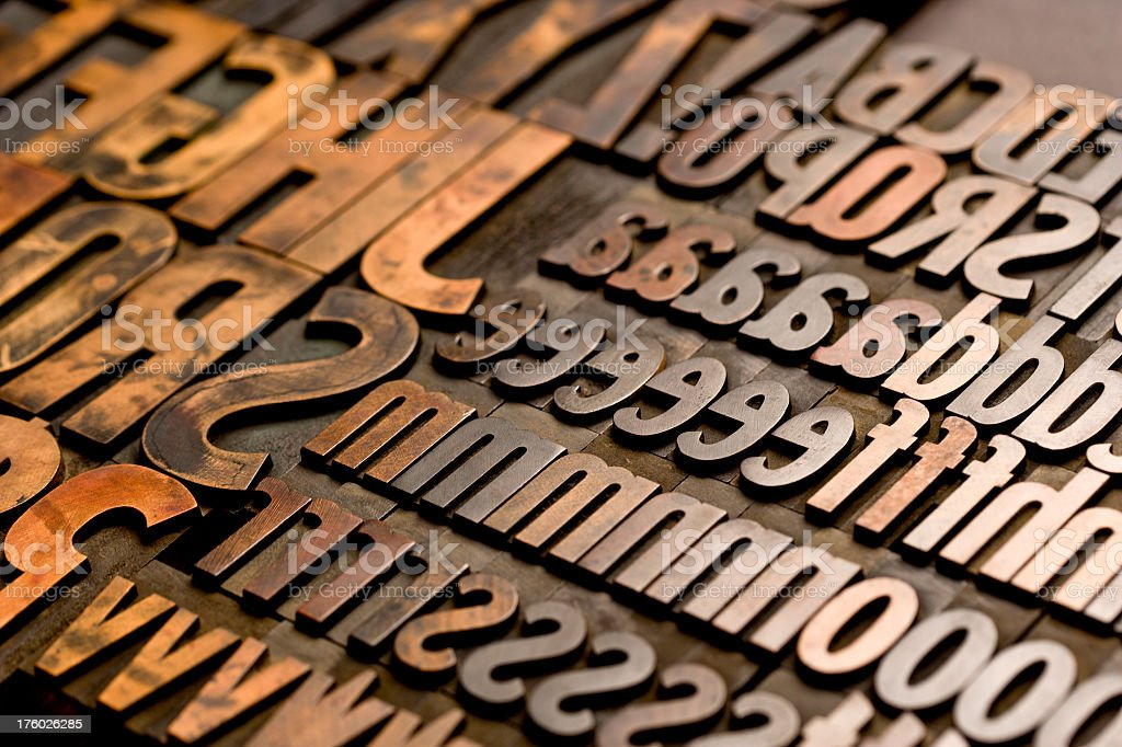 Alphabet - Wood Type Letters. Horizontal, Full Frame. royalty-free stock photo