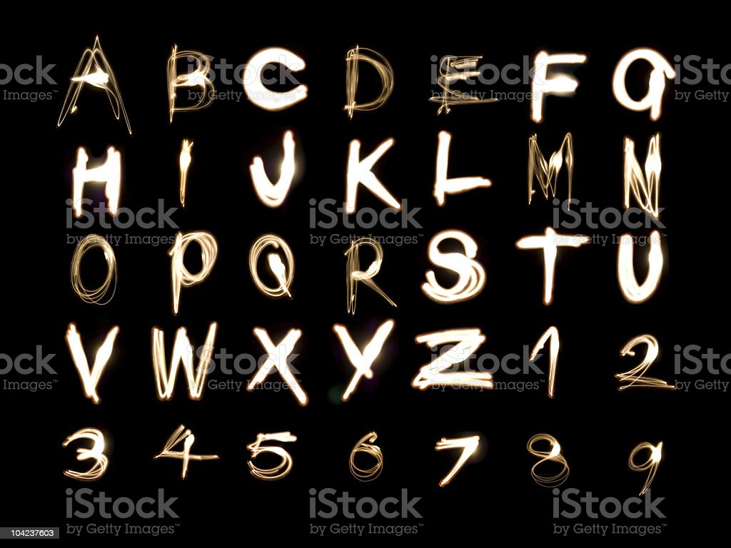 Alphabet_numbers_light_painting royalty-free stock photo