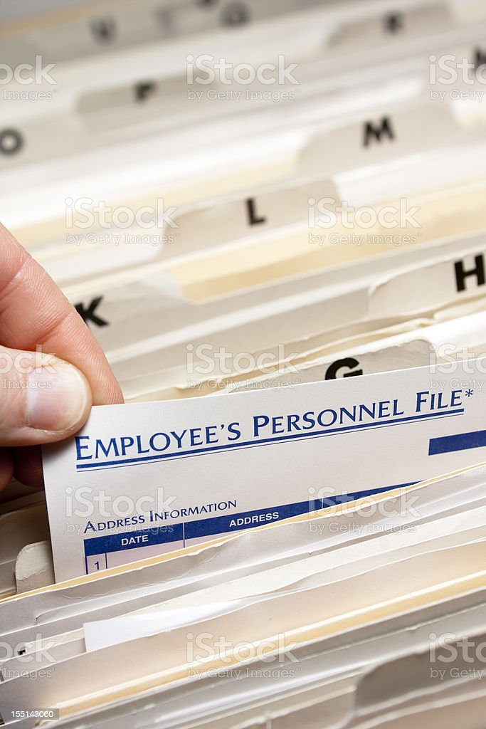 Alphabetical employee personnel files stock photo