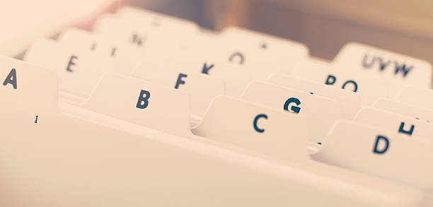 alphabetical organizer tray for business cards stock photo