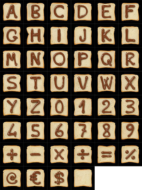 alphanumeric symbols drawn with nutella on bread slices on black - ruth 個照片及圖片檔