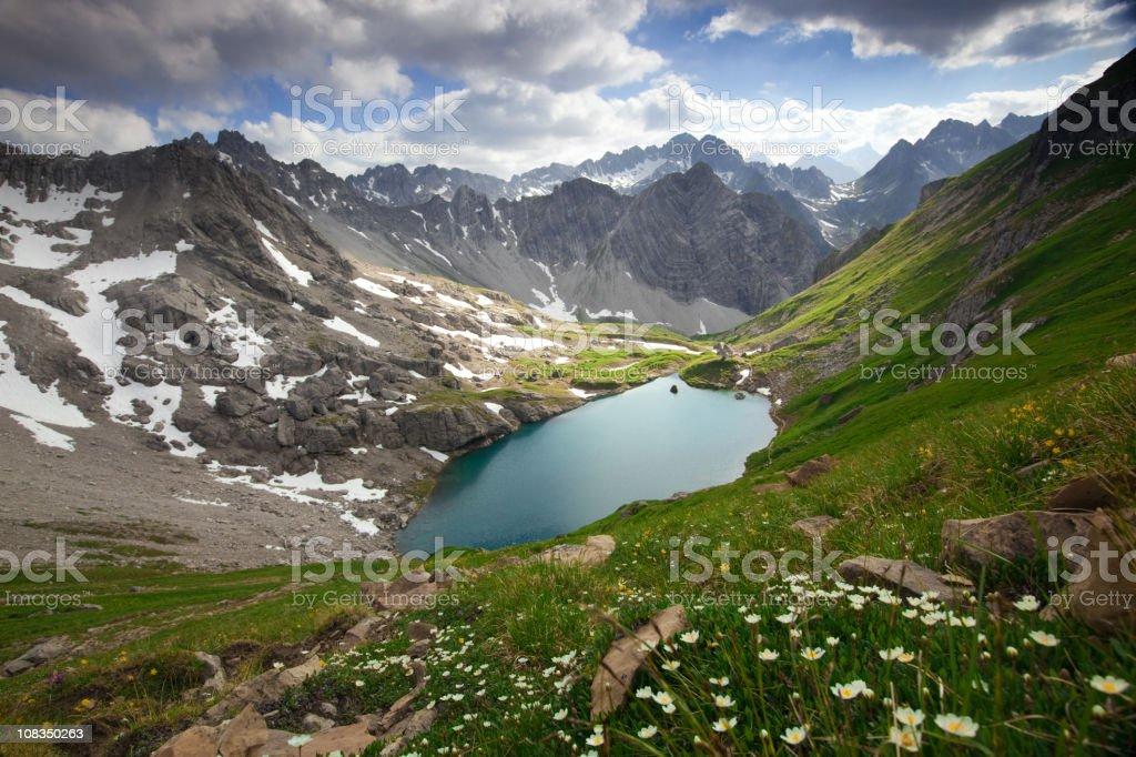 alpin lake gufelsee in tirol - austria stock photo