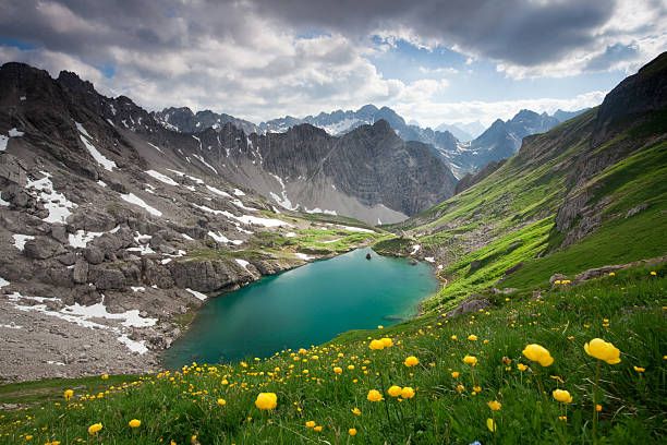 alpin lake gufelsee in tirol - austria stock photo