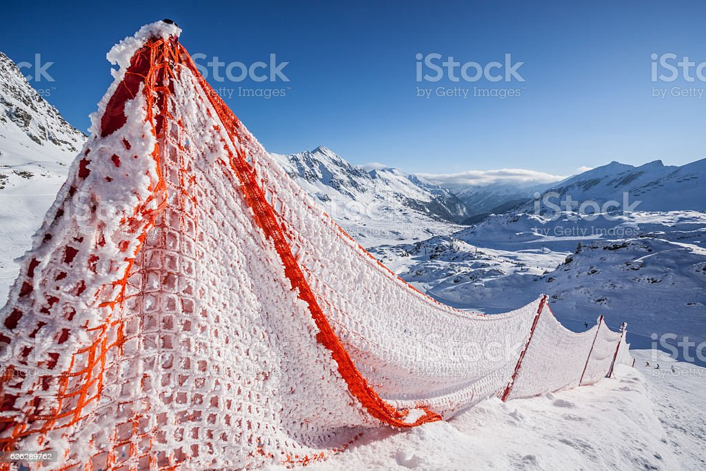 alpine barrier stock photo