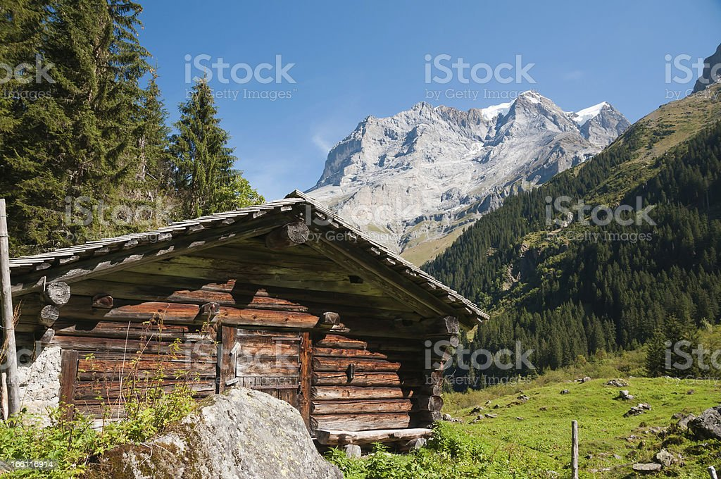 Alpine cabine in front of the Jungfrau, Swiss Alps royalty-free stock photo