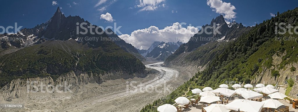 Alpine cafe on the couloir royalty-free stock photo