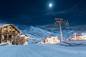 This photo was taken in midnight over the highest ski resort in Europe-Val Thorens, France.\nThe clear sky came with a clean moon light what helped me to take this unique image!