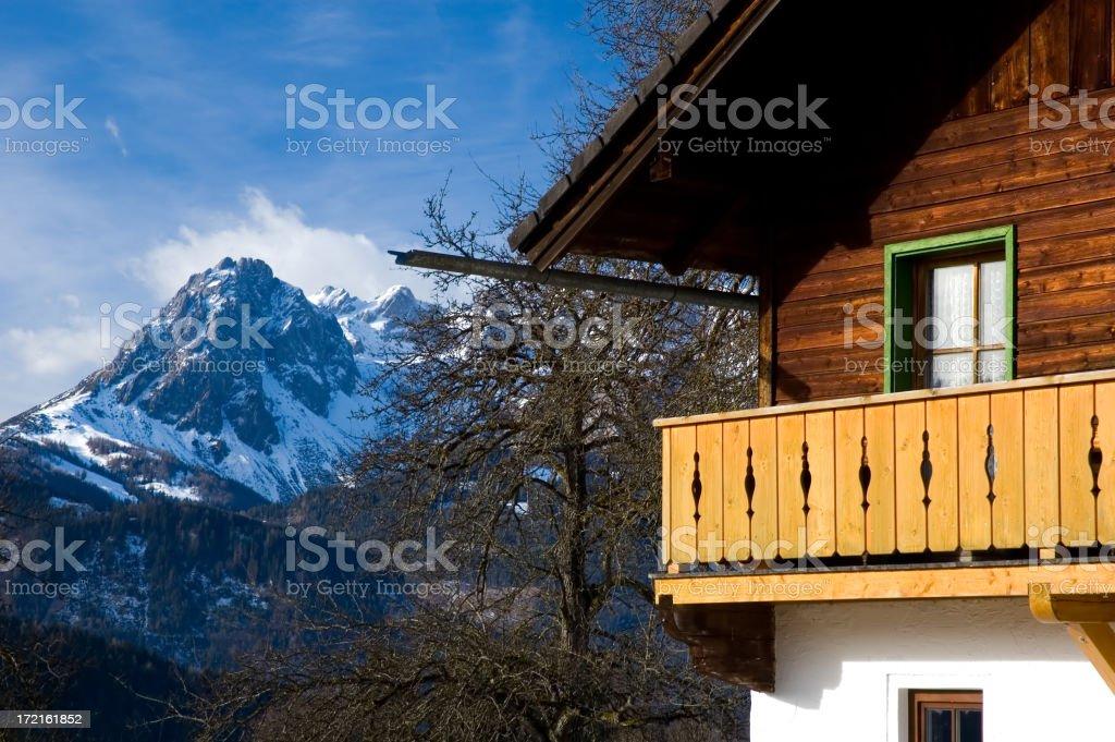 Alpine Chalet Close Up royalty-free stock photo