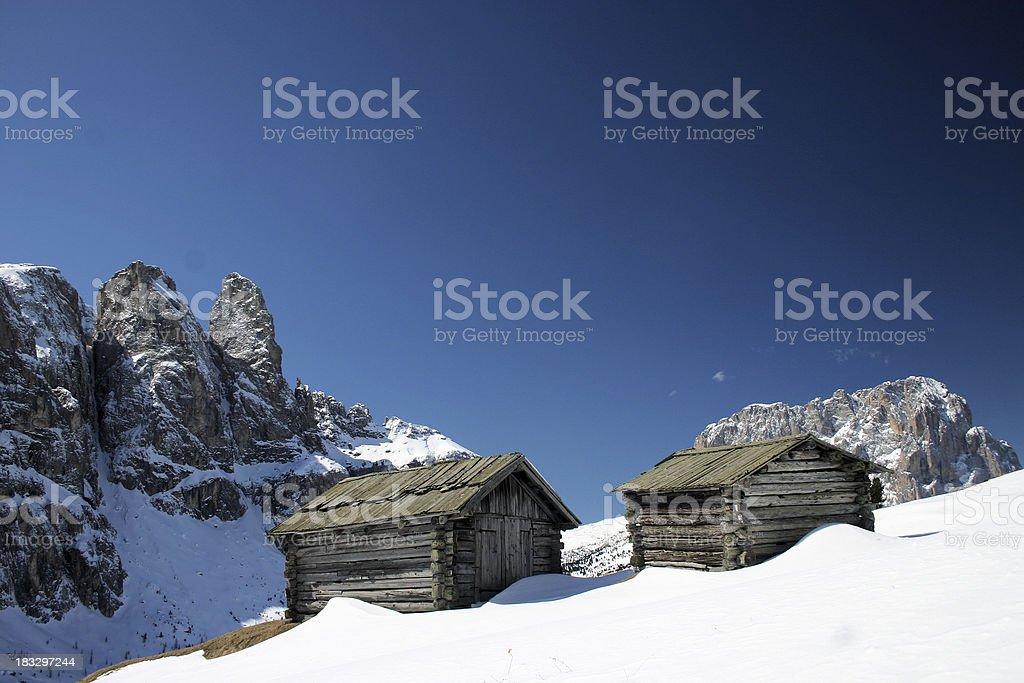 Alpine chalets in the Dolomites royalty-free stock photo