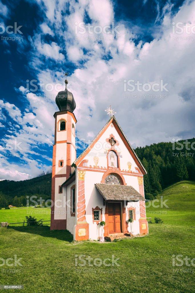 Alpine church in Dolomites, Alps stock photo