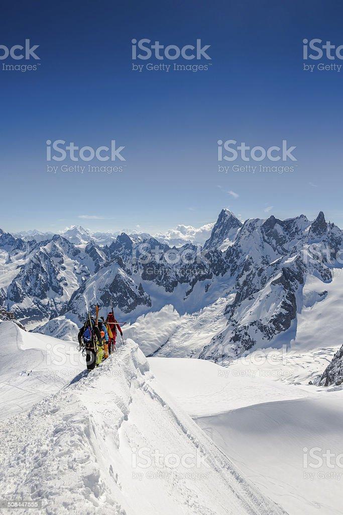 Alpine climbers on ridge at Mont Blanc, Chamonix, France royalty-free stock photo