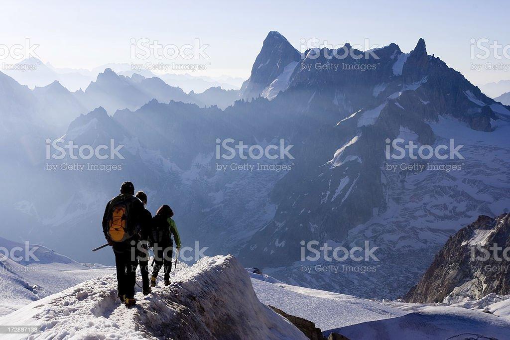 Alpine climbers on ridge royalty-free stock photo