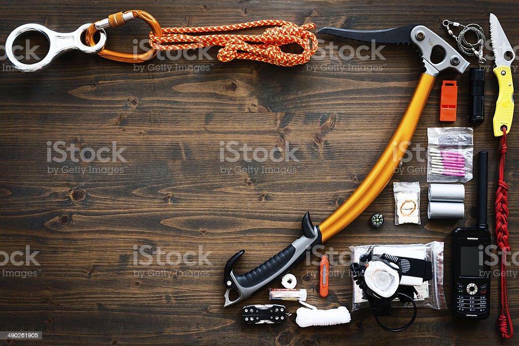 Alpine climbing gear stock photo