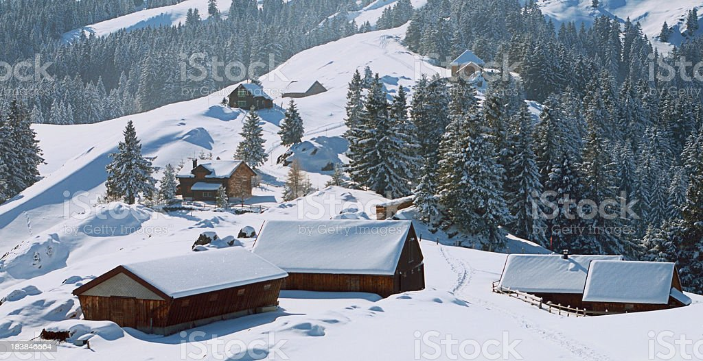 Alpine Countryside in Winter stock photo
