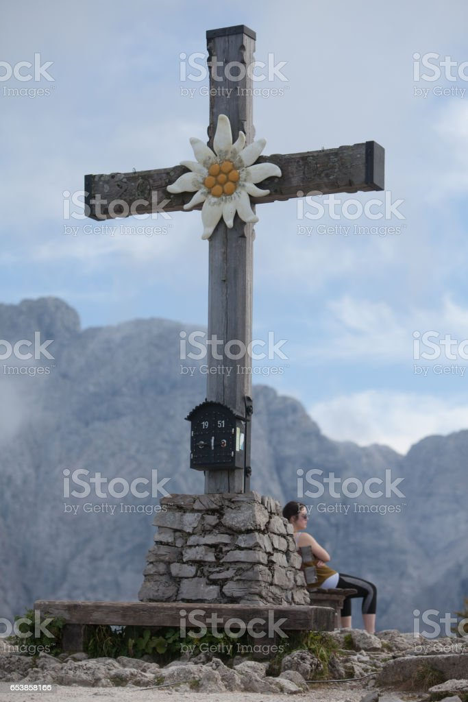 Alpine Cross in the Bavarian Alps stock photo
