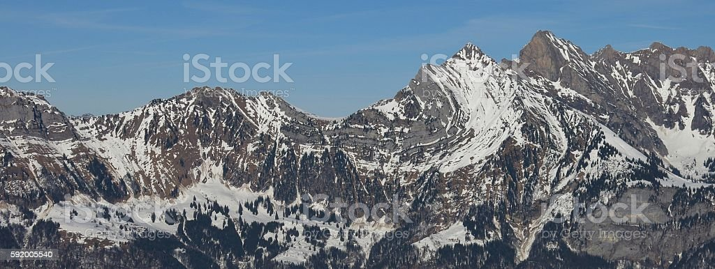 Alpine fold in a mountain of the Churfirsten Range stock photo
