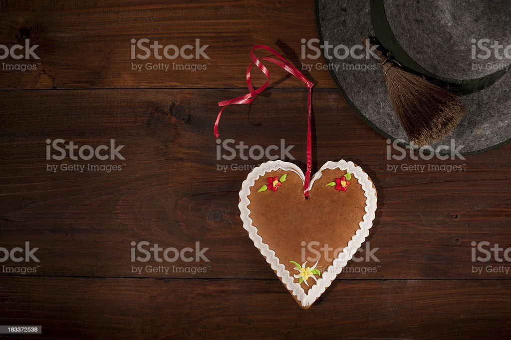 alpine hat and heart royalty-free stock photo
