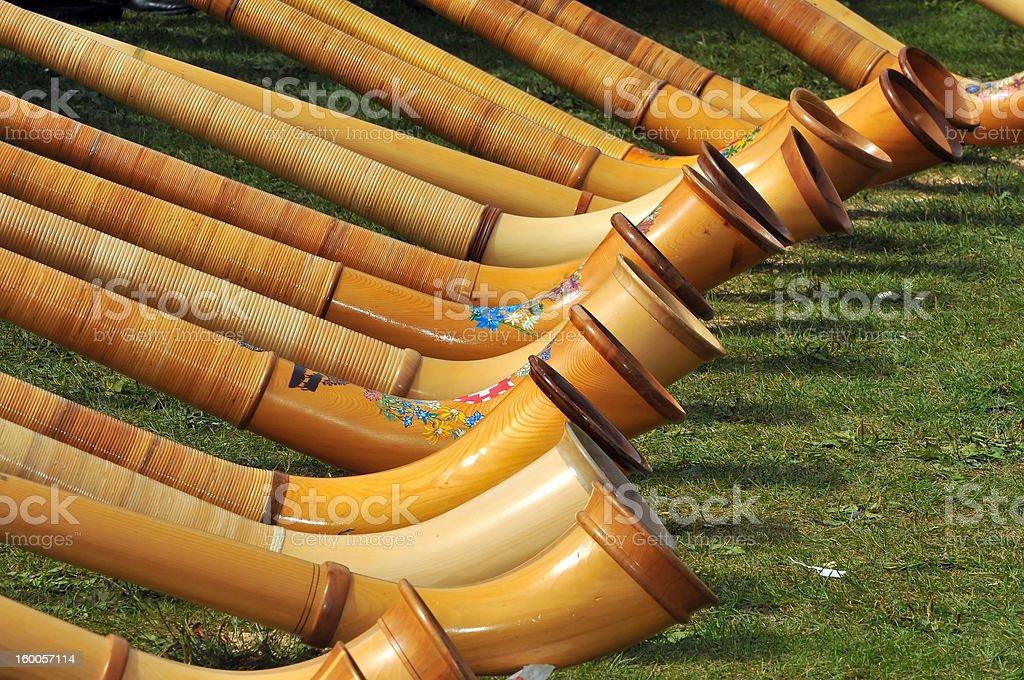 Alpine Horns stock photo
