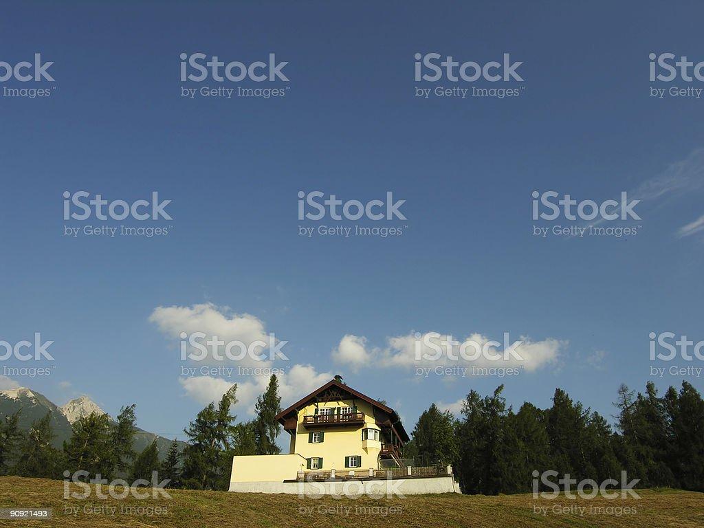 Alpine House Sky Blue royalty-free stock photo