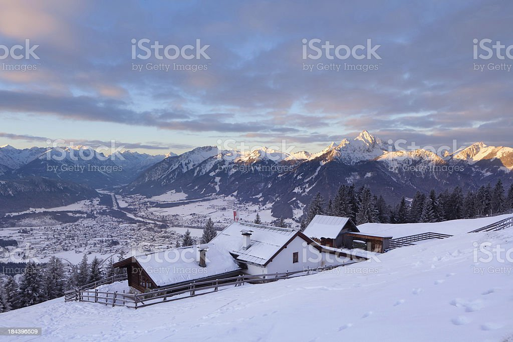 alpine hut in tirol, austria stock photo