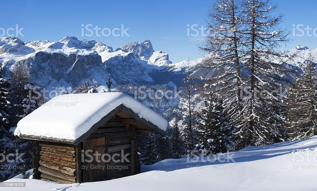 Alpine Hut in Winter stock photo