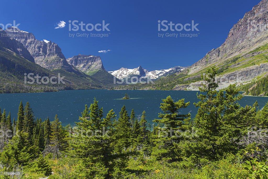 Alpine Lake and Small Island royalty-free stock photo