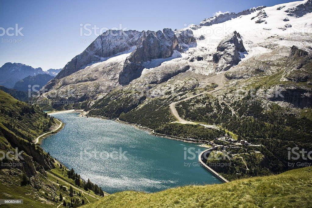 Alpine Lake, Dolomites, Italian Alps Vivid Colors royalty-free stock photo