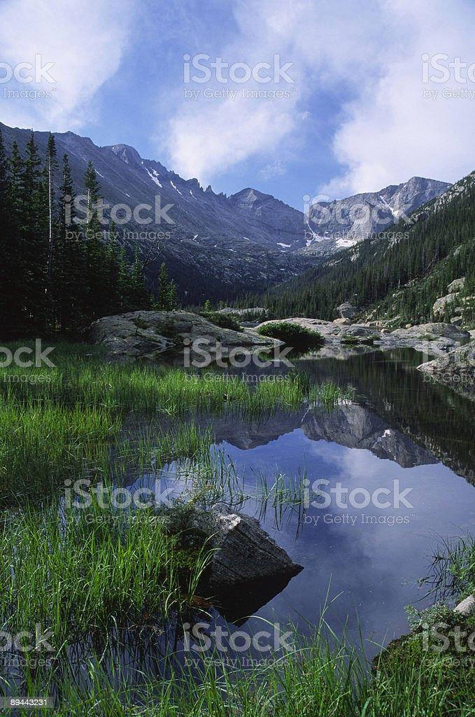 Lac de montagne dans les montagnes Rocheuses du Colorado photo libre de droits