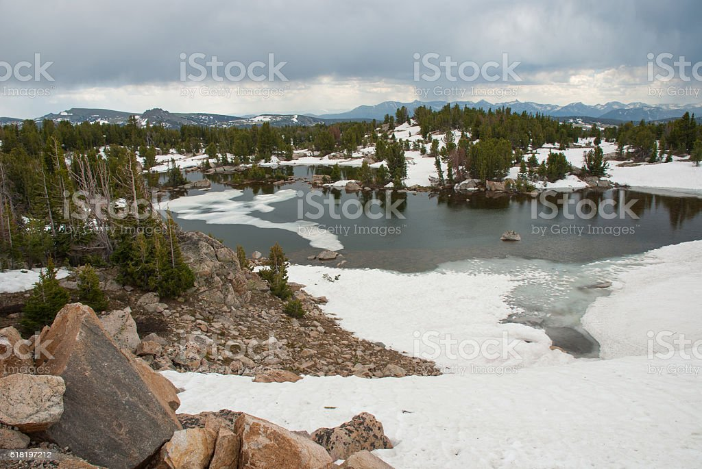 Alpine lake near Beartooth Pass, Wyoming, USA stock photo