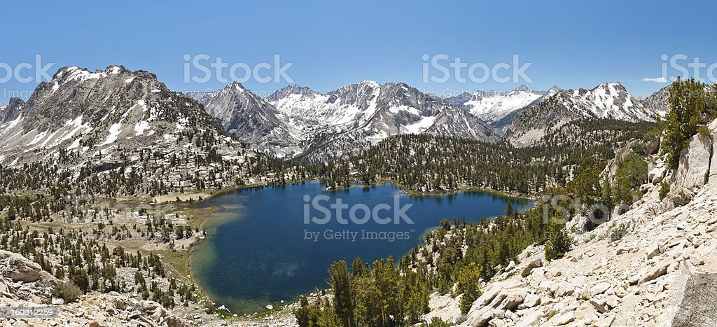 Alpine Lake Panorama stock photo