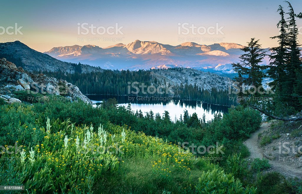 Alpine lake, Sierra Nevada range stock photo